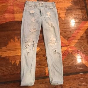 High Rise Light Wash Distressed Mom Jean